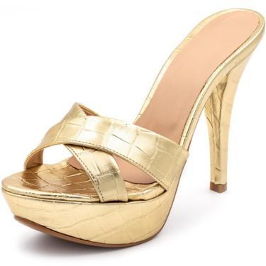Sandália Tamanco Plataforma Especial Salto Alto Fino Em Croco Dourado  feminino