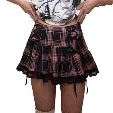 Saia escolar feminina de cintura alta plissada, saia evasê para meninas com forro, Saia xadrez preta e rosa com renda preta, S