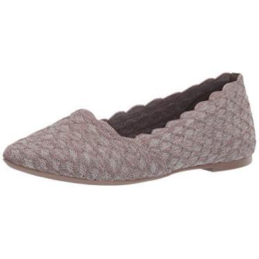 Skechers Sapatilha de balé feminina Cleo-Scalloped, Dark Taupe, 5.5