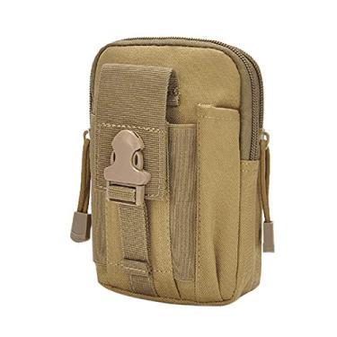 Bolsa de cintura, Romacci Cáqui portátil portátil tático bolsa de bolso para celular bolsa de cintura usando cinto para corrida bolsa multifuncional para acampamento, caminhadas, pesca