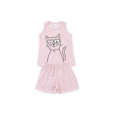 """Conjunto Pijama Feminino Infantil """"Gatinho e Corações"""""""