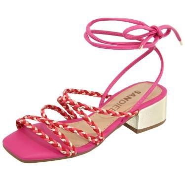 Imagem de Sandália Salto Baixo Confort Sandiee Tiras Trançadas Valentina Pink com Dourado  feminino
