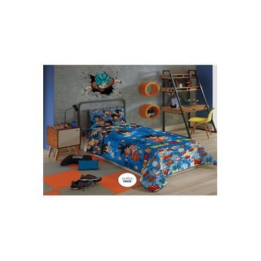 Edredom e Jogo de Cama Solteiro Dragon Ball Azul Masculino Lepper