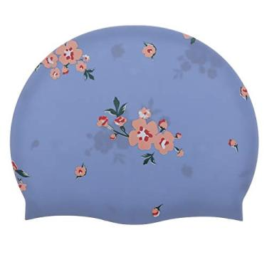 VALICLUD Touca de natação de silicone impermeável de Touca de natação impressa à prova de sol prática chapéu
