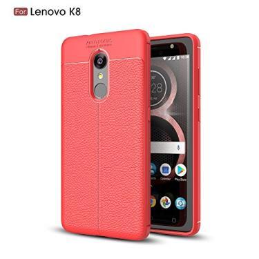 Capa para Lenovo K8 com estampa de Litchi, capa traseira ultrafina de TPU vermelho