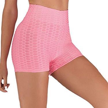 QISHENG TRADE TIK Tok Legging feminina de cintura alta, short legging com controle de barriga e levanta o bumbum, shorts de ioga para treino (rosa, G)