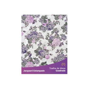 Imagem de Toalha De Mesa Quadrada Em Tecido Jacquard Estampado Floral Lilás