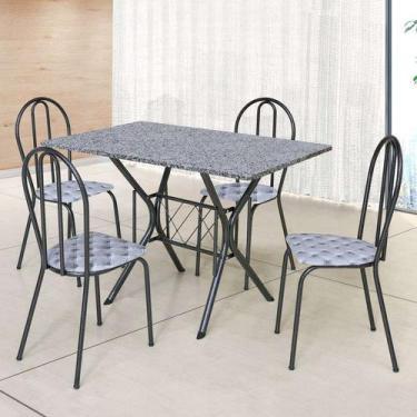 Imagem de Conjunto De Mesa Com 4 Cadeiras Bruna Craqueado Preto E Estampa Capito