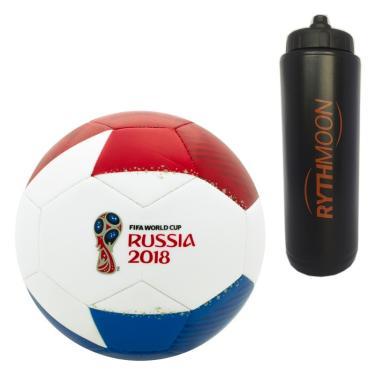 Kit Bola Futebol Campo Rússia 2018 Licenciada Oficial N5 Branco Vermelho Azul  + Squeeze ad99238dd763b