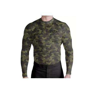Camisa Rash Guard Masculina Camuflada Verde ATL