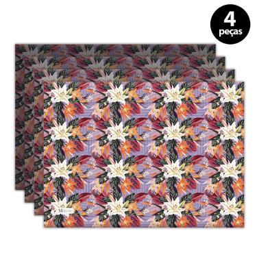 Imagem de Jogo Americano Mdecore Floral 40x28 cm Roxo 4pçs