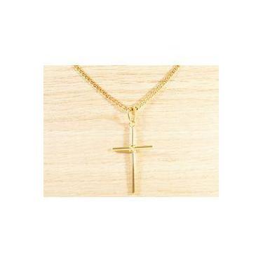 0d62d915ef0 Corrente Masculina Grumet 70cm 3mm + Crucifixo Tudo Folheado Ouro Semi Joia