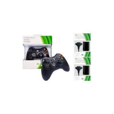 Controle Manete Sem Fio Xbox 360 +2 Bateria Carregador E Cabo