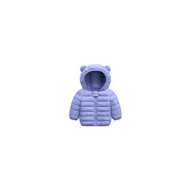 Jaqueta Bebê Infantil Acolchoada Com Capuz Inverno Ultra Leve Quente Cor Lilás Tamanho 110cm