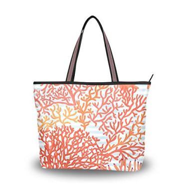 Bolsa de ombro feminina com alça superior, corais em listras azuis e brancas, bolsa de ombro para mulheres, Multicolorido., Large