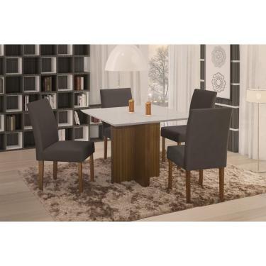 Imagem de Conjunto Sala de Jantar em Madeira Maciça Mesa Pérola 4 Cadeiras Lara Espresso Móveis Castanho/Suede 68