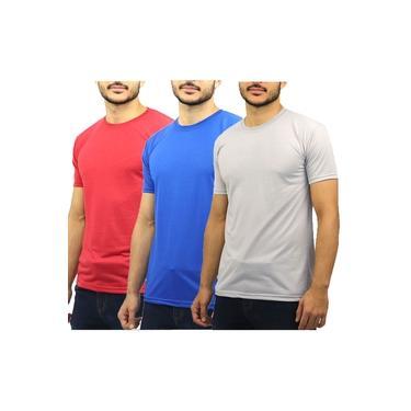 Kit 3 Camisetas Masculina Malha Fria Básica Lisa Gola Careca