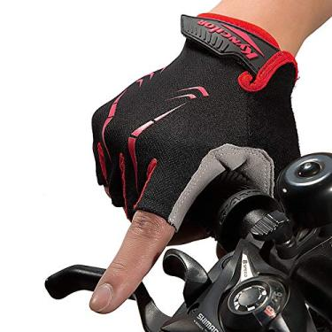 Luvas Esportivas, Andoer Luvas de ciclismo Luvas de esporte de escalada para bicicleta de escalada com meio dedo anti-derrapante à prova de agitação à prova de vibração