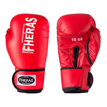 Luva de Boxe Muay Thai MMA 10oz Vermelha Fheras
