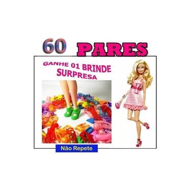 Imagem de Kit 60 Pares -sapatos Para Boneca Barbie Sapatinho