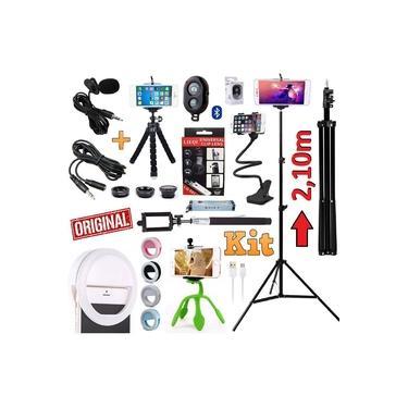 Kit Youtuber 12x1 Profissional Microfone Lapela + Tripé 2,10m Celular Câmera + Mini Tripé Flexível Luz Flash Ring Light + Kit Lentes Suporte Articulado Bastão de Selfie Universal