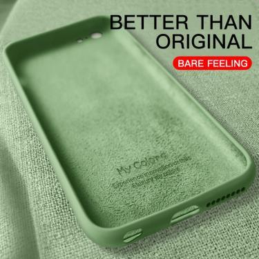 Capa macia fina para iPhone, para 7 8 6 6s Plus 4 5 SE2, capa de silicone líquida original, capa de