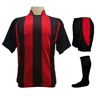 Imagem de Fardamento Completo modelo Milan 20+1 (20 camisas Preto/Vermelho + 20 calções modelo Copa Preto/Vermelho + 20 pares de meiões Preto + 1 conjunto de goleiro) +