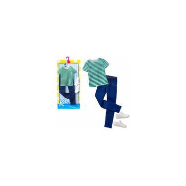 Imagem de Conjunto Roupinha Casual Moderno - Roupa Acessório Masculino Para Boneco Ken Fashionista - Blusa Calça Jeans E Tênis Branco - Namorado Da Boneca Barbie - Original Mattel