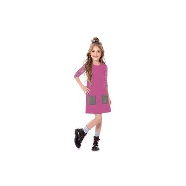 Vestido Infantil Menina Manga Longa Brilho Roxa