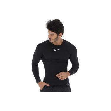 aa74ab522379 Camisa de Compressão Manga Longa Nike Pro LS - Masculina - PRETO/BRANCO Nike