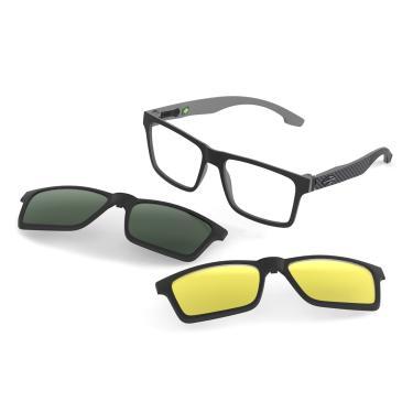 05817ee4e55e7 Óculos de Grau Swap Clip On Mormaii M6057AGA56 - Acetato Preto e Cinza Fosco