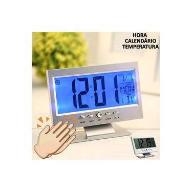 Imagem de Relógio de mesa digital LCD led acionamento sonoro despertador termometro PRATA CBRN01439