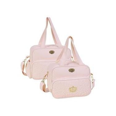 a34d1d2db8 Bolsa maternidade Mimo rosa kit 02 peças bolsas G + M - Hug