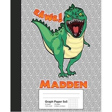 Graph Paper 5x5: MADDEN Dinosaur Rawr T-Rex Notebook: 2054