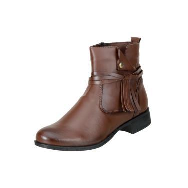 Bota Cano Curto DuduDias Ankle Boot 070 Marrom  feminino
