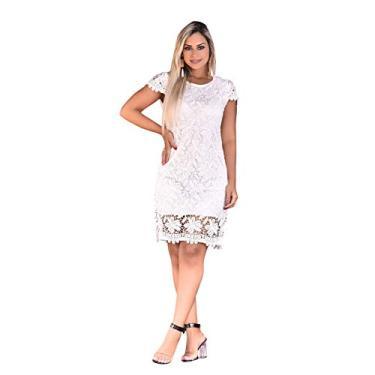 Vestido Feminino Tubinho Festa Renda Moda Evangélica Casamento (M/38-40, Branco) - ZL0170