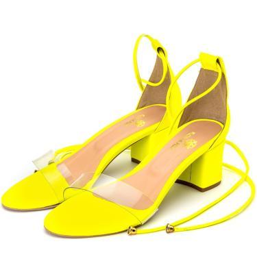 Imagem de Sandália Feminina Salto Grosso Médio Em Napa Amarelo Neon Com Transparência Lançamento  feminino