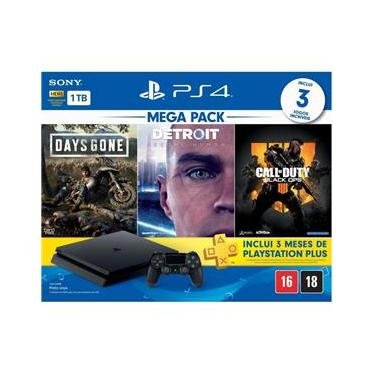 Playstation 4 Slim 1TB + 3 Jogos (Days Gone / Detroit / COD Black Ops 4) - PS4 Sony