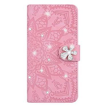 XYX Capa carteira para Samsung Galaxy J7 Pro SM-J730, capa carteira flip de couro PU brilhante flor retrô com compartimentos para cartão, rosa