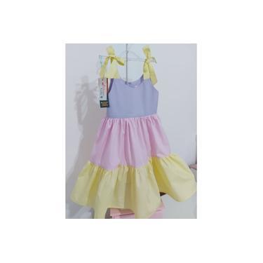 Vestido Infantil Luli com Alças- Candy Color (Lilás, amarelo e rosa) - Colien Kids