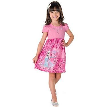 Vestido Infantil Frozen Brandili Ref. 22609 Cor:Rosa;Tamanho:4