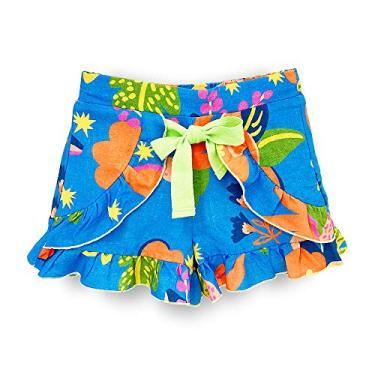 Short Infantil Pandi Blue Print Cor:Azul;Tamanho:4A;Gênero:Menina