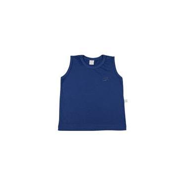 Camiseta Infantil Meia Malha Manga Cavada Básica Bordada - Azul Jeans