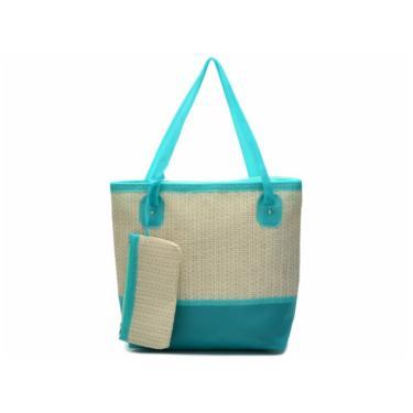 Bolsa de Praia Kamila Torres com Necessaire  Azul Turquesa  feminino