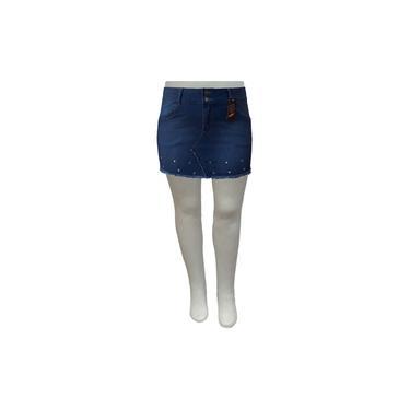 Mini Saia Jeans Mullet Com Ilhós Plus Size