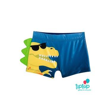 Sunga Infantil Dinossauro Azul Tip Top Com Proteção Solar UV FPS 50+