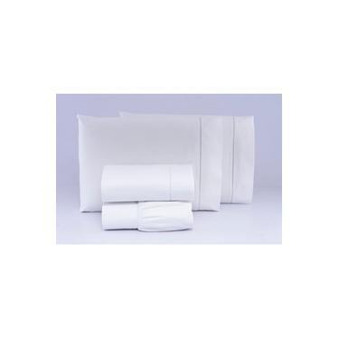 Imagem de Jogo De Cama Casal Box 4 Peças 100% Algodão Percal 300 Fios BRANCO