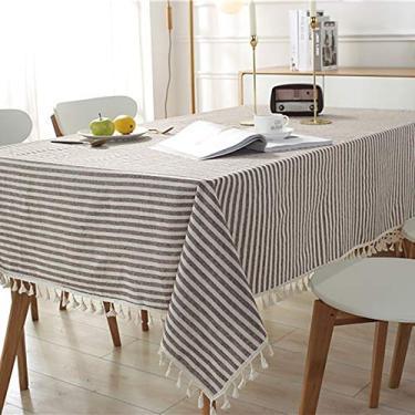 Imagem de Hengqiyuan Linenablecloth toalhas de mesa, toalha de mesa de algodão com borla, capa de mesa retangular de algodão, mesa de mesa, mesa quadrada, mesa redonda, café, 140 x 250 cm