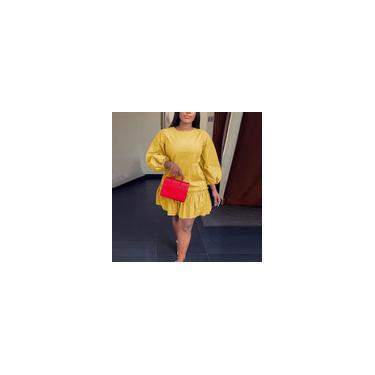 Vonda Fashion Women's 3/4 manga plissada bainha minivestido plus size cor sólida verão casual vestido camiseta Amarelo 2XL