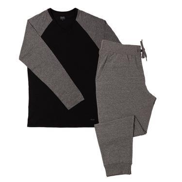 Pijama Manga Longa Gola V Cotton Com Bolso Cinza Mescla Escuro G